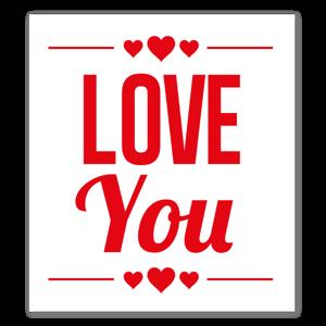 Love you med hjärtan sticker
