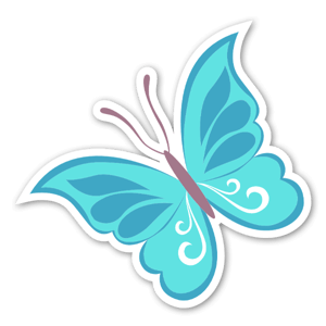 Aufkleber blauer Schmetterling
