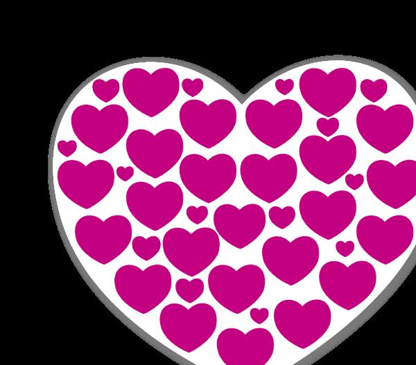 Corações em rosa choque e branco sticker