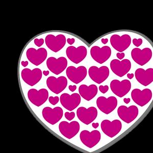 Lila hjärtan med hjärtan sticker