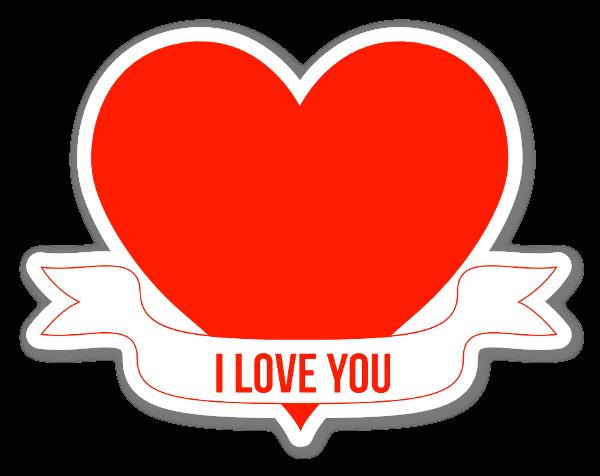 I Love You Heart Banner Klistremerker