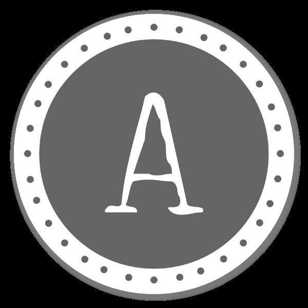 Monogram Gray A Etiketter