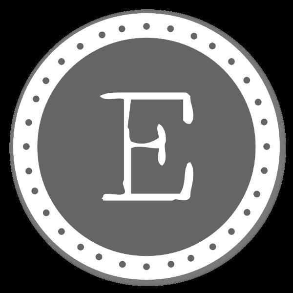 Monogram grå E sticker