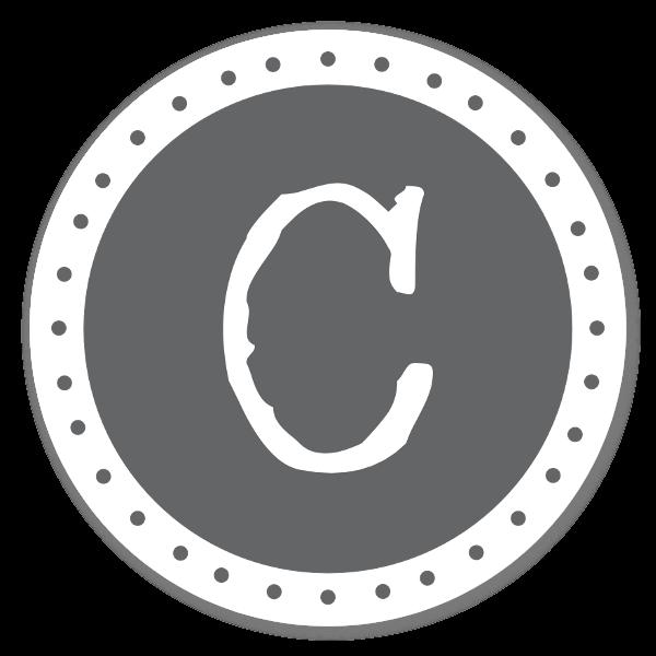 Monogram Gray C Etiketter