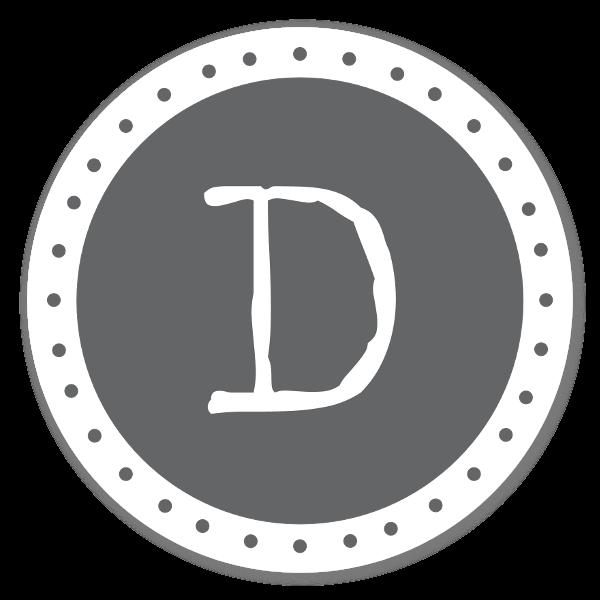 Monogram Gray D Etiketter