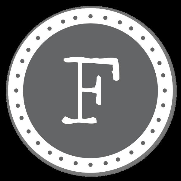 Monogram grå F sticker