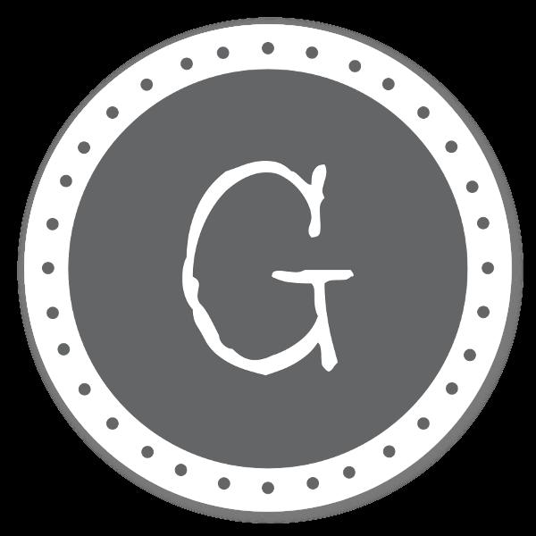 Monogram Gray G Etiketter