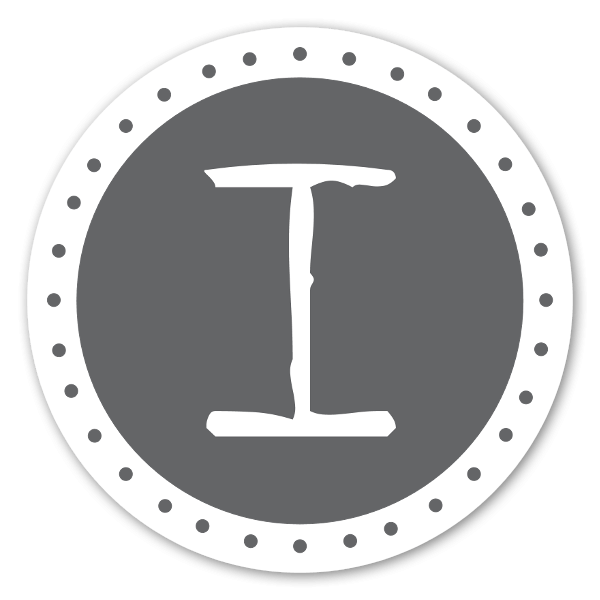 Monogram grå I sticker
