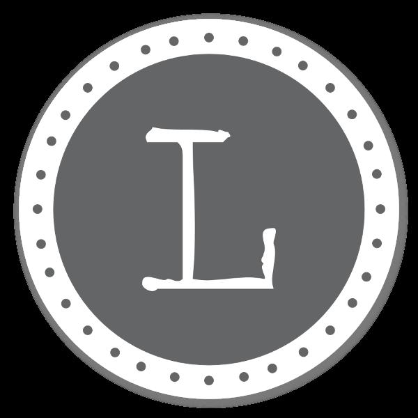 Monogram Gray L Etiketter