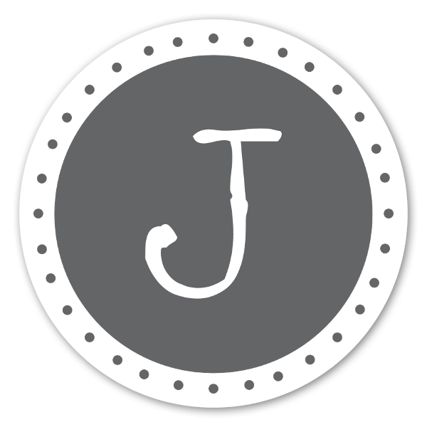 Monogram grå J sticker