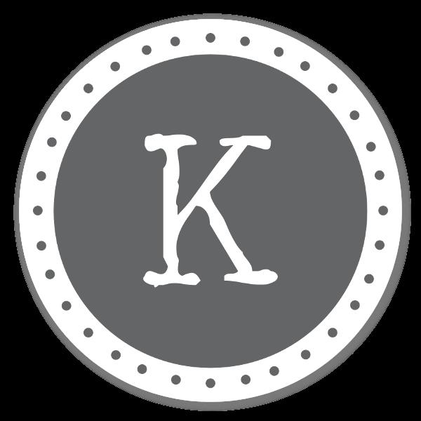 Monogram grå K sticker