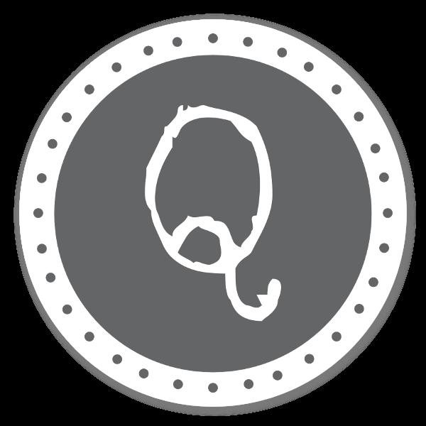 Monogram grå Q sticker