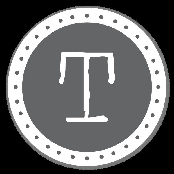 Monogram grå T sticker