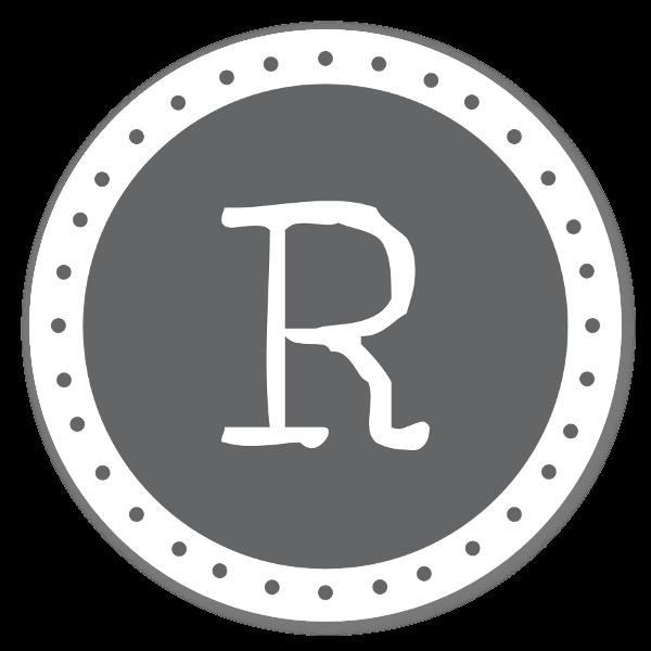 Monogram grå R sticker