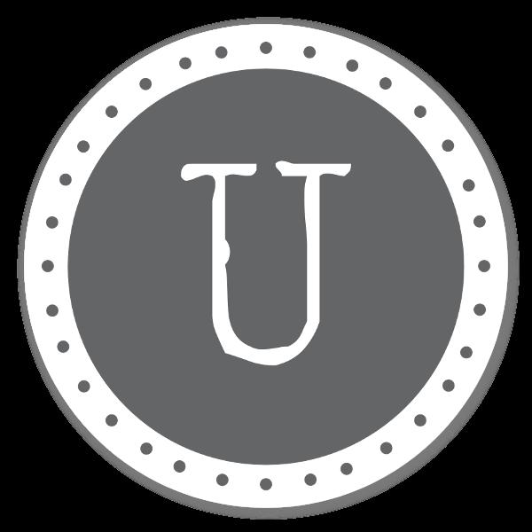 Monogram grå U sticker