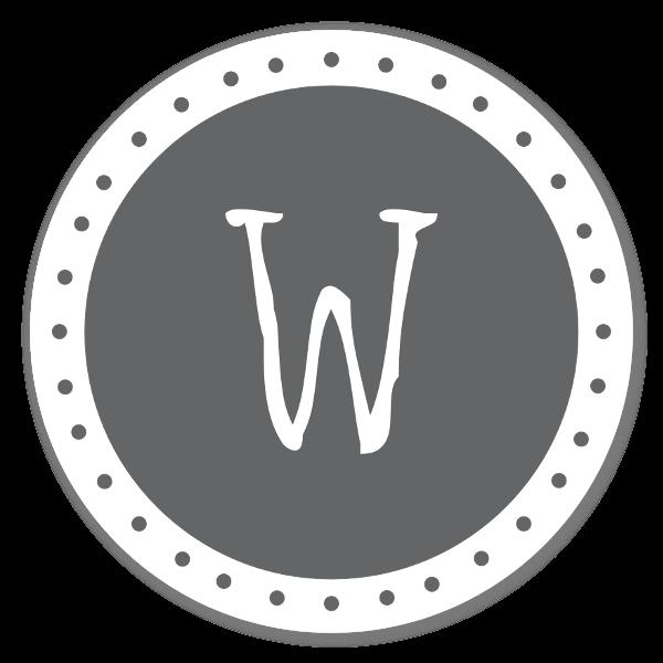 Monogram grå W sticker