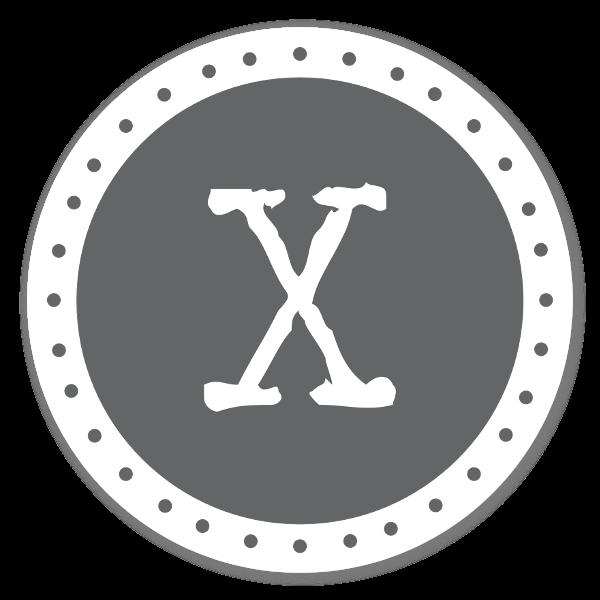Monogram grå X sticker
