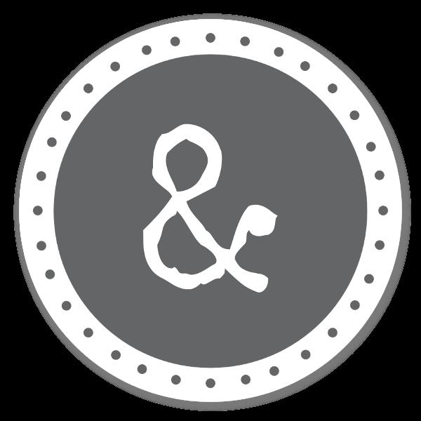 Monogram grå & sticker
