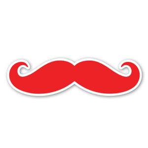 Mustache Red etiketter