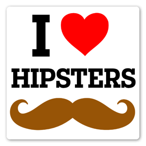 I Love Hipsters etiketter
