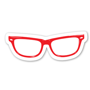 Hipster Eye Glasses Red etiketter
