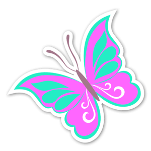 Pinky butterfly  sticker