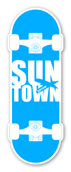 Suntown White On Blue Sticker