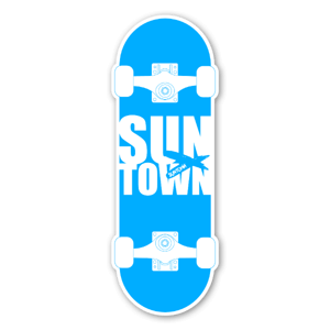 Suntown blue skateboarding sticker