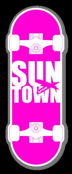 Suntown Pink Skateboarding sticker