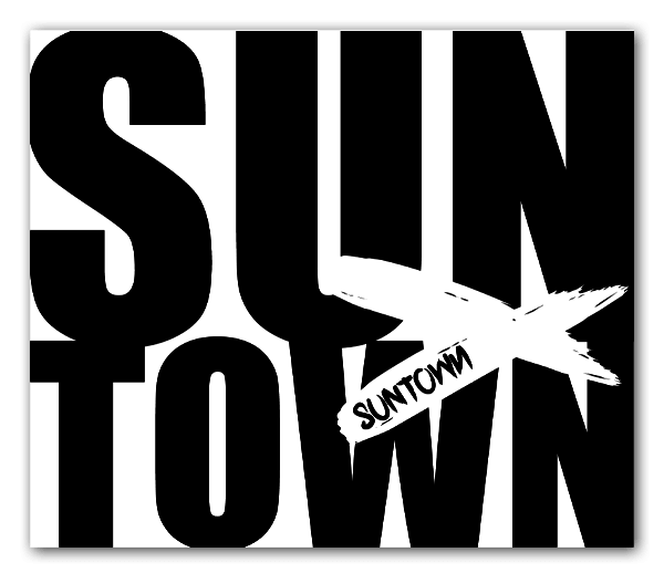 Suntown White On Black Sticker