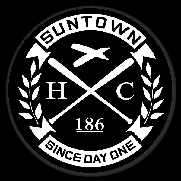 Suntown white on black sticker