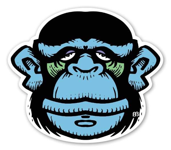 Blue monkey sticker