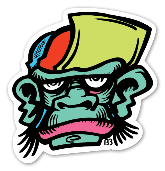 Monkey cap sticker