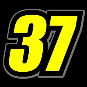 Nummer 37 gul sticker