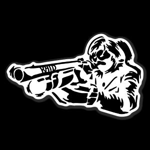 Raid taste the gunman sticker