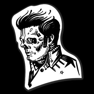 Mr Presley as a skull Klistremerker