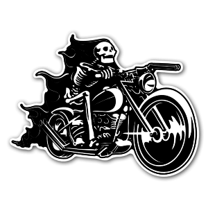 Skull bike rider on flames klistremerker