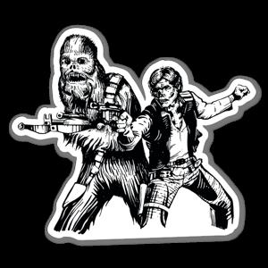 Chewbacca and Han Solo skull sticker