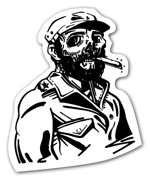 Fidel castro cigar skull sticker