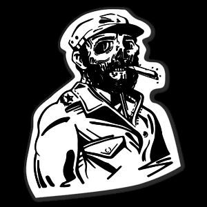 Fidel Castro cigar skull sticker