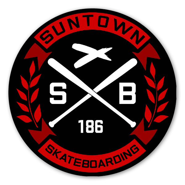 Suntown Round Black White Sticker
