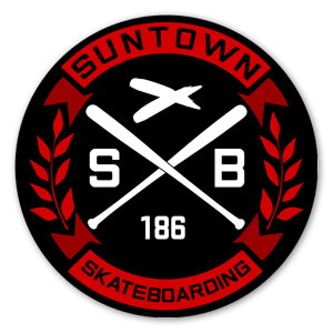 Suntown black Red Round Sticker