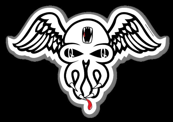 Skully wing sticker