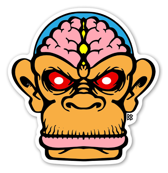 The brain chimp custom sticker