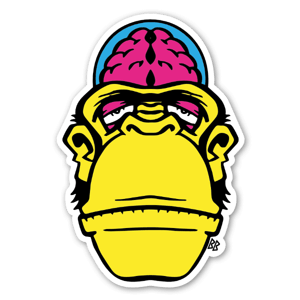 Bobby Brain Yellow Chimp Custom Stickers decals labels
