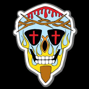 Artist Grimm Christ Sugar Skull sticker