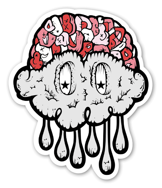 Jerkface brain cloud sticker