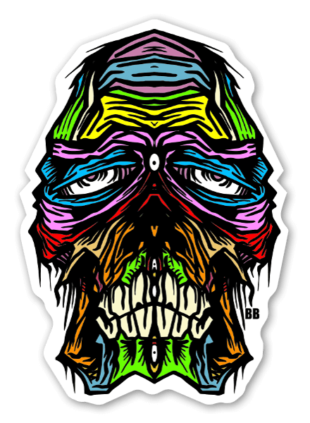 Bobby skullface stickers labels decals