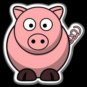 Tecknad gris sticker
