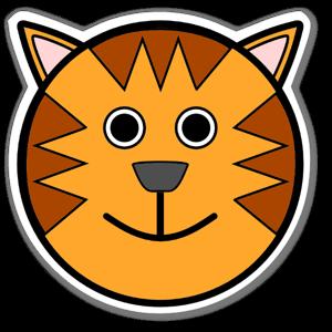 Tecknat tigerhuvud sticker